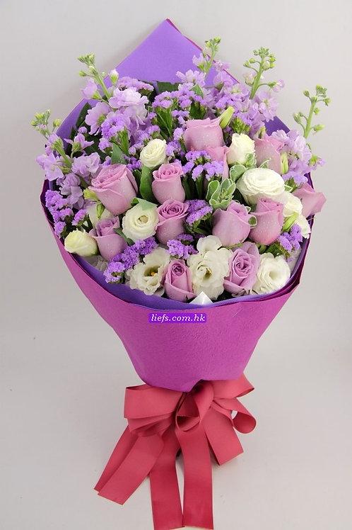 RP02-紫玫瑰11支+桔梗