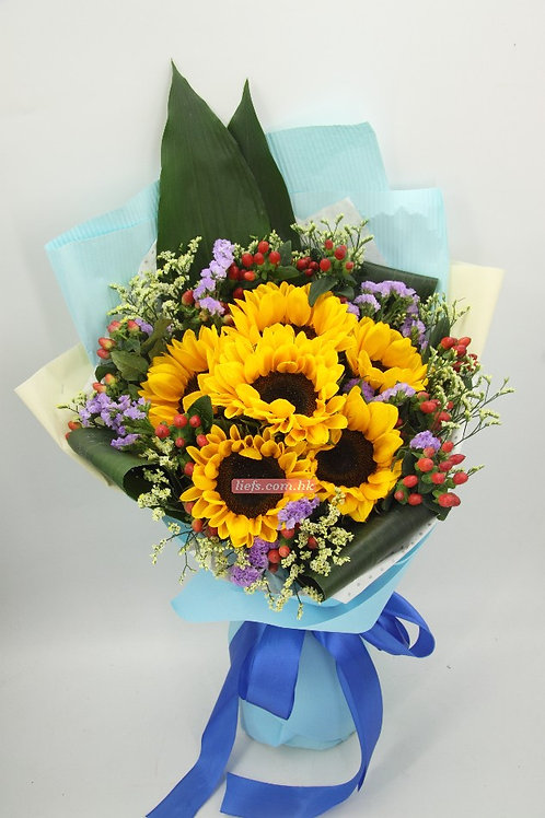 GS07-6支向日葵花+紅豆+襯花