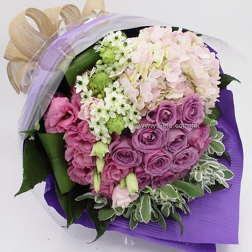-紫玫+鏽球-花束-76