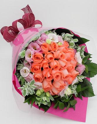 R76-24枝-玫瑰+桔梗配襯葉