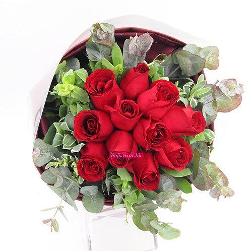 R05-玫瑰11支+尤加利