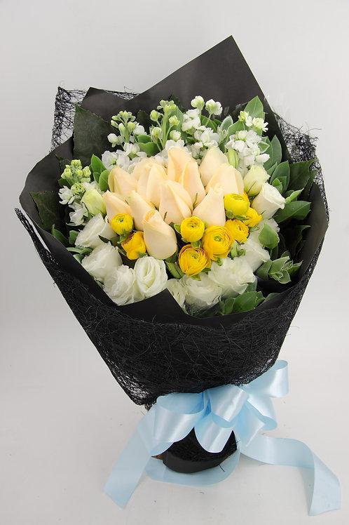 小牡丹-玫瑰-花束-349