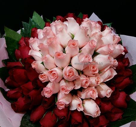 R9905-99枝混色玫瑰配襯葉