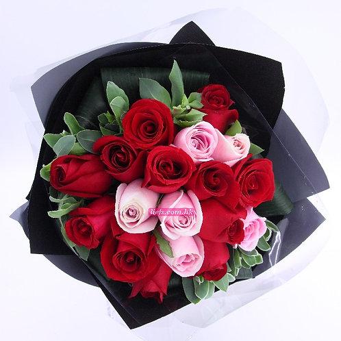 R08-兩色玫瑰18支+襯花