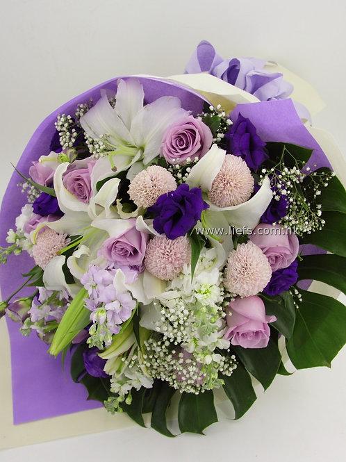 L01-百合+紫玫6枝