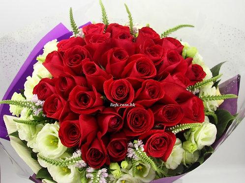 RR81-28枝-紅玫瑰+桔梗