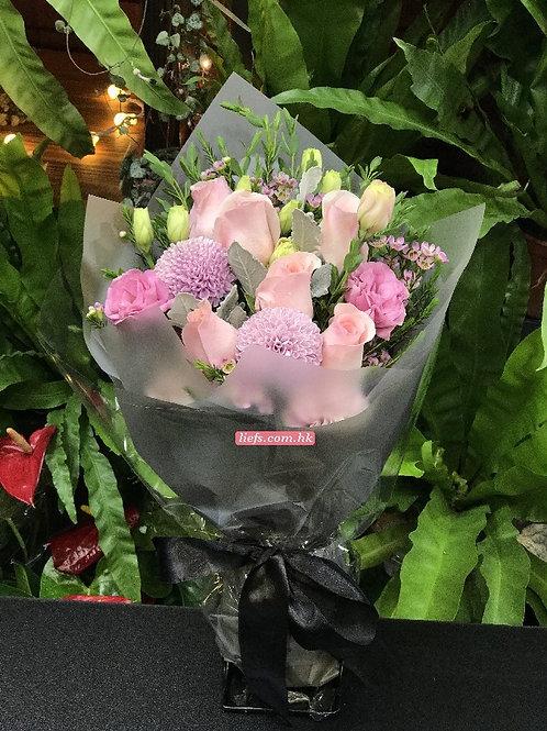 GR03-6支玫瑰+乒乓球+襯花