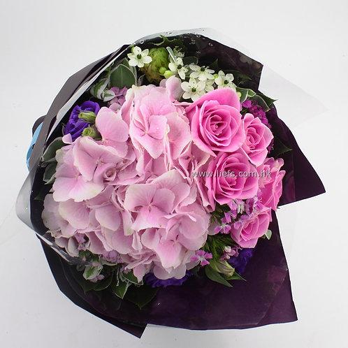 情人節-粉色玫瑰+鏽球花束67