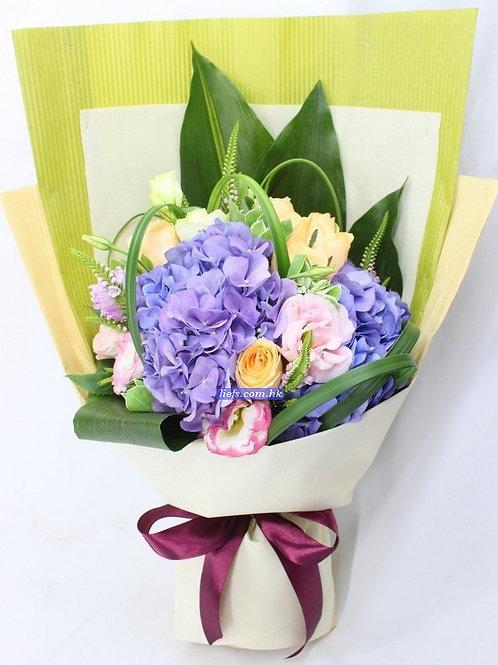 HR04-鏽球+玫瑰6支+襯花