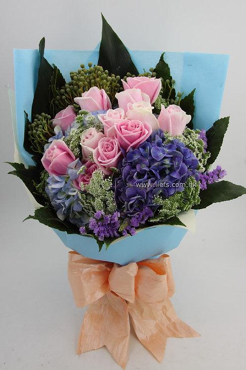 鏽球玫瑰花束57