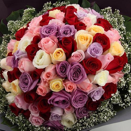 R9901-99支5色玫瑰配襯花
