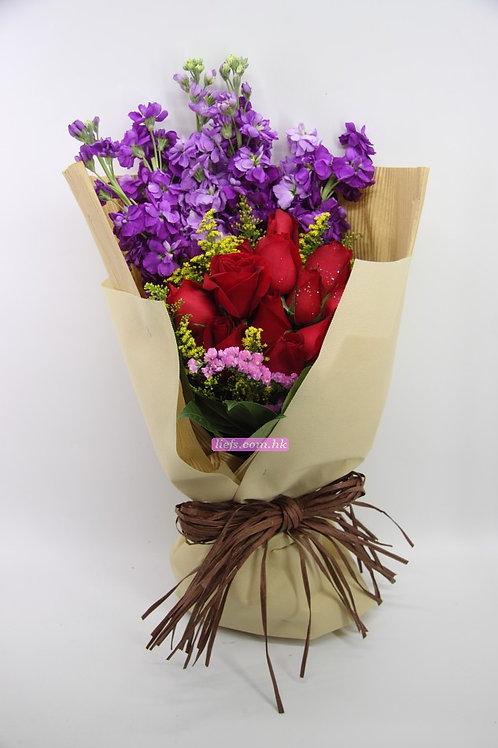 GR09-10支玫瑰+射香+襯花
