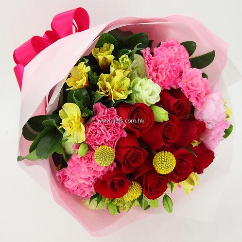 紅玫瑰-花束-84