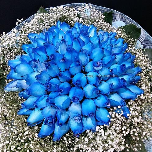 R9906-99枝藍玫瑰配襯花