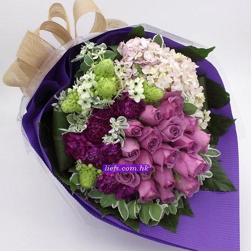 RP01-紫玫瑰18支+鏽球+襯花