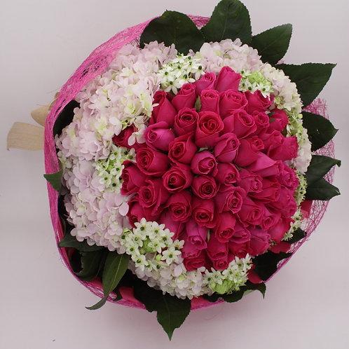 R9903-99支桃紅玫瑰配鏽球