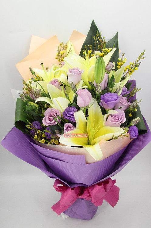 GL21-百合玫瑰+10支玫瑰+襯花