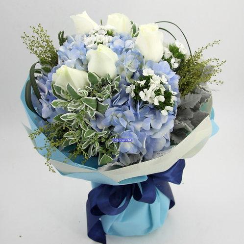 HR08-鏽球+玫瑰6支+襯花