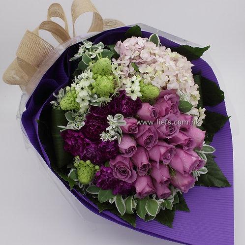 R75-18枝紫玫瑰+鏽球