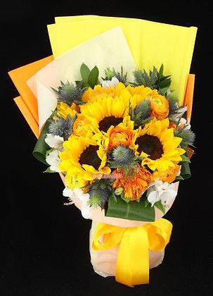 GS04-6支向日葵花+特式襯花