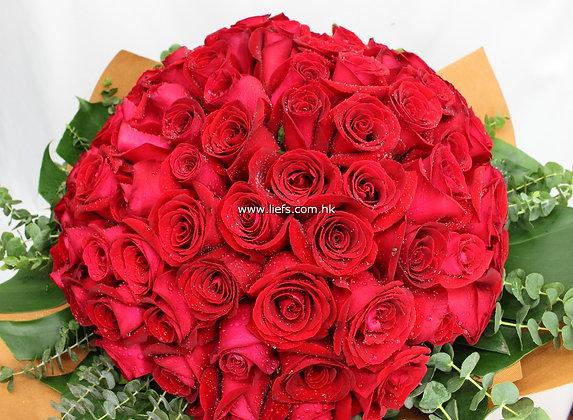 R9908-99枝紅玫瑰配襯葉
