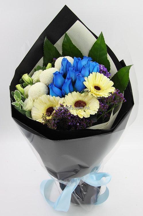 太陽花+藍玫瑰-花束-342