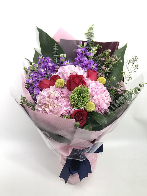 R92-玫瑰+鏽球配襯花