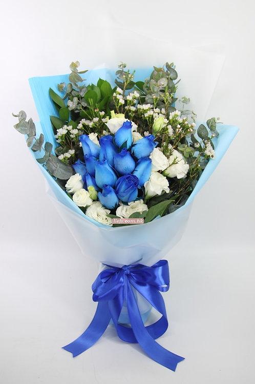 GR07-12支藍玫瑰+襯花