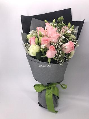 R89-11枝粉玫瑰+配襯花