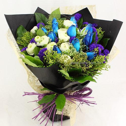藍玫瑰+小牡丹-花束-31
