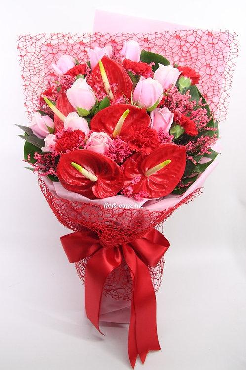 R116-紅掌+玫瑰