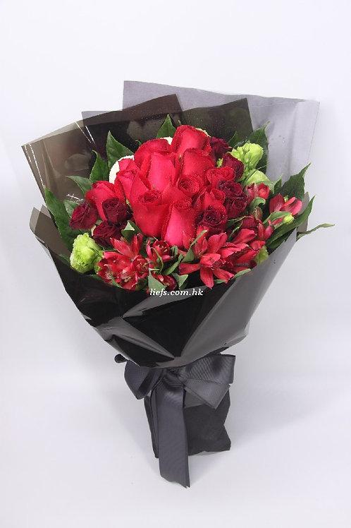 R121-11枝紅玫瑰+小百合