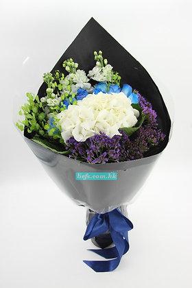 BL06-藍玫瑰11支+鏽球