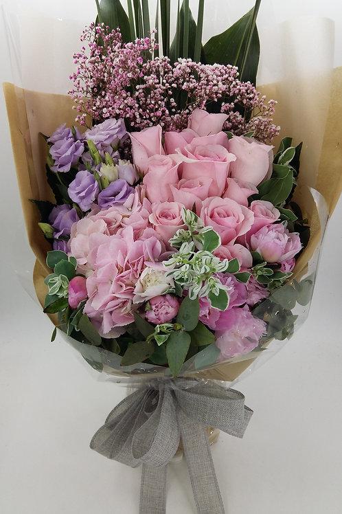 玫瑰+桔梗-花束-123