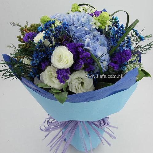 情人節-藍色鏽球花束65
