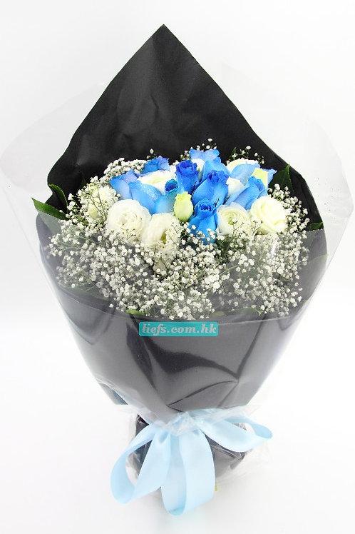BL02-藍玫瑰11支+星花+桔梗