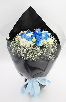 小牡丹+藍玫瑰-花束-341