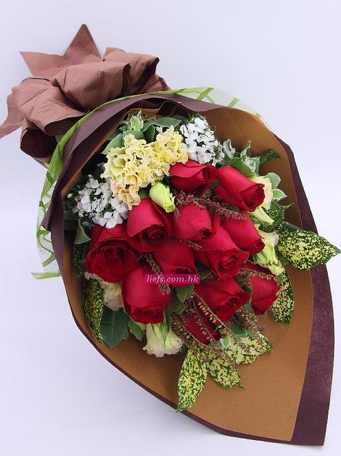 R04-玫瑰12支+襯花