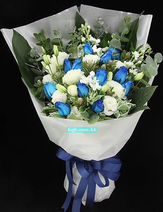 BL07-藍玫瑰11支+尤加利+桔梗
