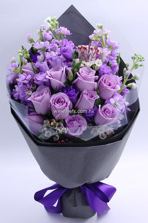 紫玫瑰-花束-335
