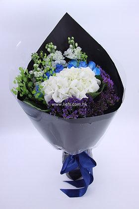 鏽球+藍玫瑰-花束-339
