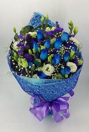 藍玫瑰+桔梗-花束-124
