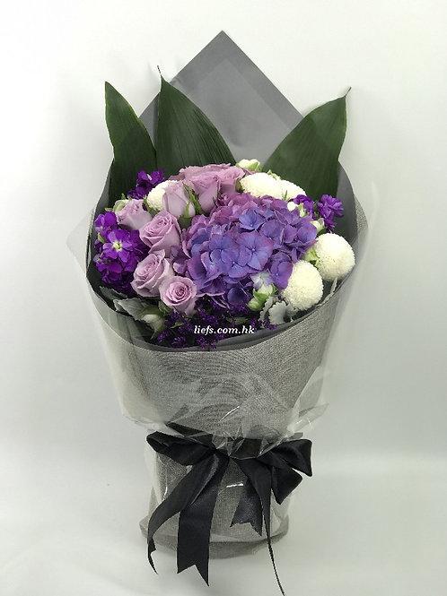 R97-玫瑰+鏽球配襯花