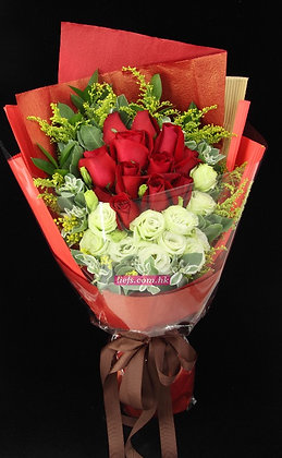 R02-玫瑰12支+桔梗10支