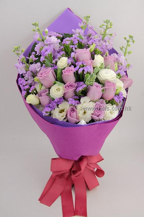 情人節-11支藍/紫玫瑰花束25