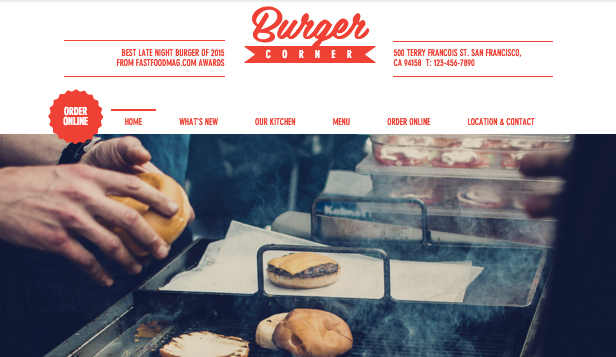 Restaurant website templates – Burger Corner