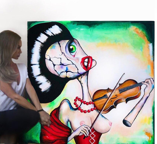 surreal large painting art gallery