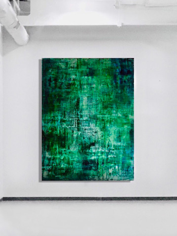 SOLD - green oversized abstract acrylic artworkon canvas