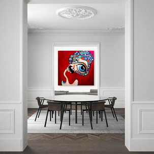 """Surreal modern painting on canvas 48""""x48"""" Large white dining room wall art decor"""