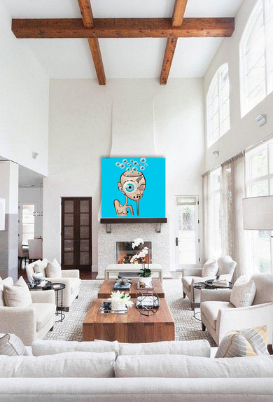 """Surreal painting on canvas 48""""x48"""" Large white living room wall art decor"""